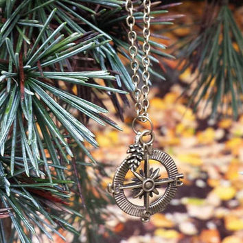 Compass and Pine cone Necklace
