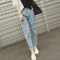 Summer Korean Stylish Ripped Holes Slim Cropped Pants Pants Jeans [8664675655]