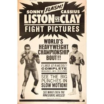 Cassius Clay Sonny Liston Fight poster Metal Sign Wall Art 8in x 12in