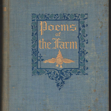 1896 Poems of the Farm Antique Poetry Book, Gilded Pages, Super RARE, FREE Shipping