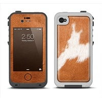 The Real Brown Cow Coat Texture Apple iPhone 4-4s LifeProof Fre Case Skin Set