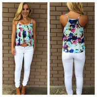 Garden Party Print Top - Blue