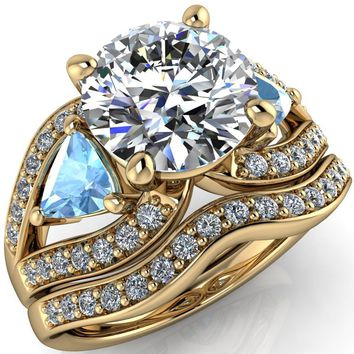 Kassandra Round Moissanite 4 Prong Trillion Aqua Blue Spinel Side Split Shank Accent Engagement Ring