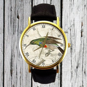 Vintage Hummingbird Illustration Watch | Bird Watch | Fashion Accessory | Ladies Watch | Mens Watch | Womens Watch | Christmas Gift Idea