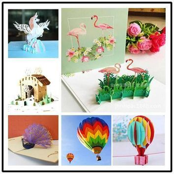 creative 3D Flamingo birthday pop up card festival party greeting card thanksgiving blessing card postcard Invitation card
