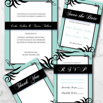 Custom Printable Stylish Mint Wedding Invitation Set