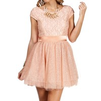 Sale-tami- Blush Lace Short Dress