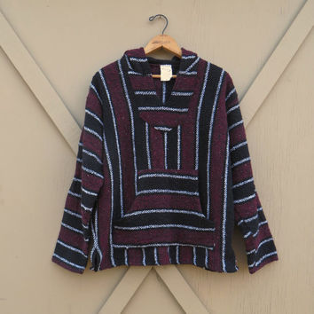 vintage Mexican Baja Woven Hooded Pullover Shirt / Baja Hoodie / Cranberry Red, Black and White