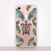 Tropical Turtle Clear Phone Case-Transparent Case-Clear Case Transparent iPhone 7-Clear iPhone 7 Plus - Gel Case - Soft TPU - iPhone SE