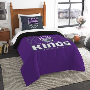 """Sac Kings OFFICIAL National Basketball Association, Bedding, """"Reverse Slam"""" Printed Twin Comforter (64""""x 86"""") & 1 Sham (24""""x 30"""") Set  by The Northwest Company"""