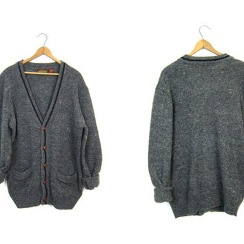 90s Grey Wool Cardigan Sweater Speckled Gray Sweater with Pockets Grandpa Sweater Button Up Boyfriend Cardigan Preppy Sweater Mens Medium