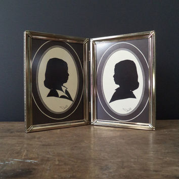 Vintage Silhouette Double Framed Home & Living Home Decor Brass Girls Frames Picture Prints Art Display Wall Hangings Cameo