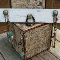Rustic Jewelry Display, Distressed Jewelry Organizer with Decorative Knobs