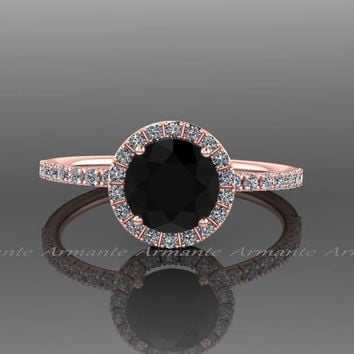 Black Diamond Halo Engagement Ring 14k Rose Gold Natural Black Diamond And White Sapphire Wedding Ring Re00073rbk