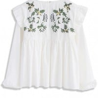 Vivid Florets Embroidered Dolly Top in White