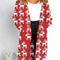 New Red Deer Print Pockets V-neck Long Sleeve Casual Cardigan Sweater
