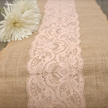 "Burlap and Lace Table Runner, -  Peachy Blush Lace , 12""x108"".  Romantic, Vintage, or  Rustic Wedding"