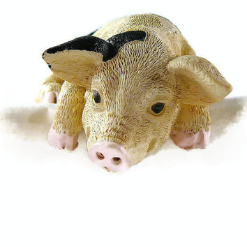 Vintage, Ceramic, Shelf Hanging, Pig Figurine