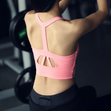 SIMPLE - Women Sport Suit Fitness Sportswear Stretch Exercise Yoga Top Women Tank Vest b3949