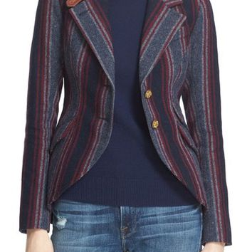 Smythe 'Hunting' Leather Trim Stripe Wool Blend Blazer | Nordstrom
