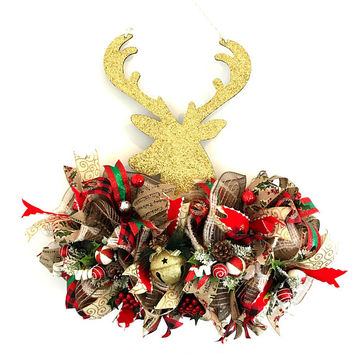 Gold Deer Christmas Decor Farmhouse Evergreen Wreath Door Hanger/ Rustic Country Holiday Decor Swag/ Housewarming Gift for Him Black Friday