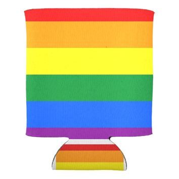 Pride rainbow flag can cooler