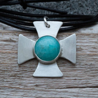 Silver cross necklace, Sterling silver cross necklace, Handmade silver cross with blue aventurine stone , Unisex cross pendant, Artisan,Boho