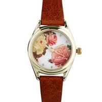 ASOS Vintage Style Floral Dial Watch at asos.com