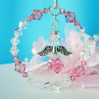 Rear View Mirror Car Charm Swarovski Lt. Pink Crystal Angel Suncatcher