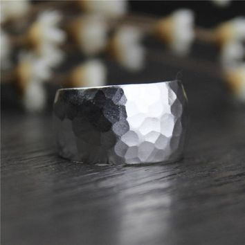 Handmade 999 Sterling Silver Wide Rings For Women With Hammering Trace Vintage Punk Style Simple Design Open Type