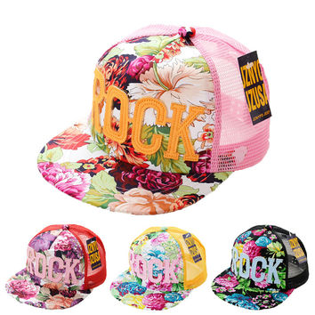 2016 Flowers Print Summer Rock Children's Baseball Caps Baby Boys Girls Summer Sun Mesh Caps Snapback Hat