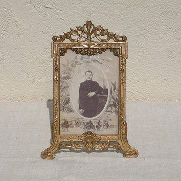 French antique military photo frame - antique photo frame - French militaria - WW1 - First World War - Artillery - art nouvaeu photo frame