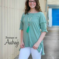 Umgee Mint Tunic Top with Frayed Trim