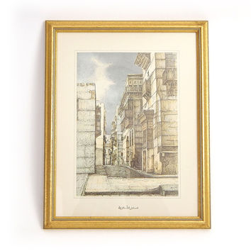 Vintage Framed Saudi Arabian Lithograph - Old Jeddah Architecture Print- A Twisting Alley Through Old Town Jeddah