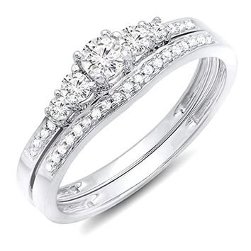 CERTIFIED  0.40 Carat 14K Gold Round Diamond Ladies 5 Stone Bridal Engagement Ring Band Set