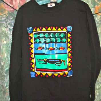 90s tribal african western print with bright colors crewneck sweatshirt