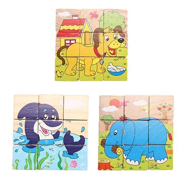 9pcs/Set Kids Baby Wooden Learning Educational Toys 3D Puzzle Jigsaw Puzzle Montessori Early Learning 3 Types Randomly Send!!