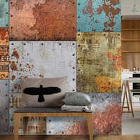 Vintage Rusty Steel Self-Adhesive Wallpaper - Removable and Reusable Retro Advertising Wallpaper - FREE SHIPPING