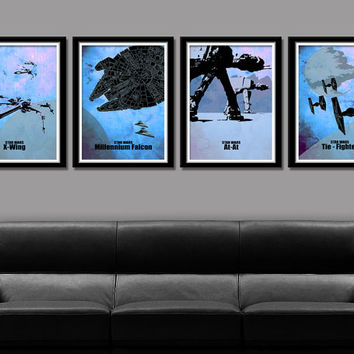 Star Wars Minimalist Movie Poster Set - 13 X 19 Home Decor (Cool Blue)