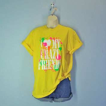 80s Neon Tshirt Yellow Tee Love My Crazy Friends Splatter Top