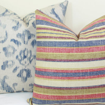 Red blue green distressed stripe pillow cover 18x18 20x20 22x22 24x24 26x26 Euro sham Lumbar pillow 12x20 12x24 14x24 14x26 16x24 16x26