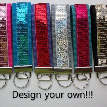 Wristlet Key Chain Wristlet Key Fob - Sequin bling - Strap - Handle - leash