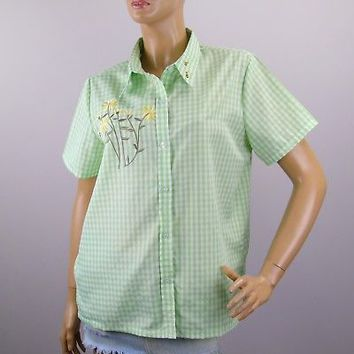 American Sweetheart Summer Shirt Sz L Flowers Bees Embroidered Green Plaid
