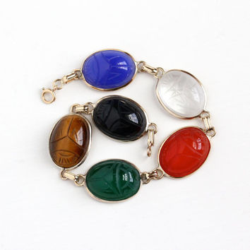 Vintage 14k Yellow Gold Filled Colorful Statement Scarab Bracelet - Large Retro Carved Beetle Gems Onyx , Quartz Egyptian Revival Jewelry