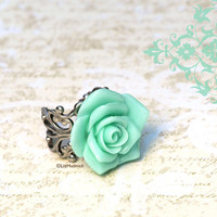 Mint Rose Ring. Victorian Style Rose in Icy Aqua. Cocktail Ring