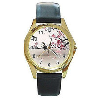 Apple Blossom and Bird (Oriental / Asian Style) on a Womens Gold Watch with L...