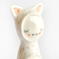 Little Vampire Figure of Ceramic, with his Cat Sleepwear. Special Halloween. Made to Order