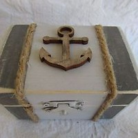 Beachy Coastal Nautical Neutral Grays Rustic Wedding Ring BOx Gift Trinket Box