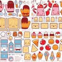 Kawaii Kitchen - plushie toy set fabric by bora for sale on Spoonflower - custom fabric, wallpaper and wall decals