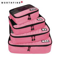 """WORTHFIND  Travel Bag 4 Set Packing Cubes Luggage Packing Organizers with Shoe Bag Fit 23"""" Carry on Suitcase"""